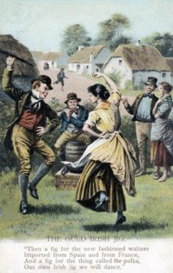 'The Ould Irish Jig' - painting of couple dancing in traditional dress, with man playing flute behind, late 19th century.